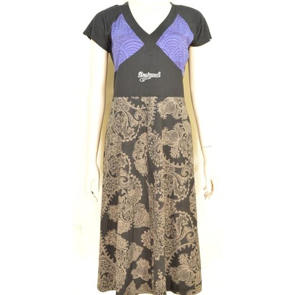 Desigual Dresses & Skirts - Desigual dress SZ S black brown blue fit top flare